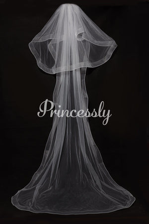 2 Layers Horsehair Trim Simple Wedding Veil