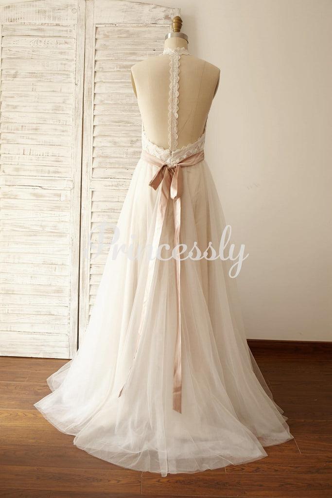 Backless Boho Beach Lace Tulle Wedding Dress