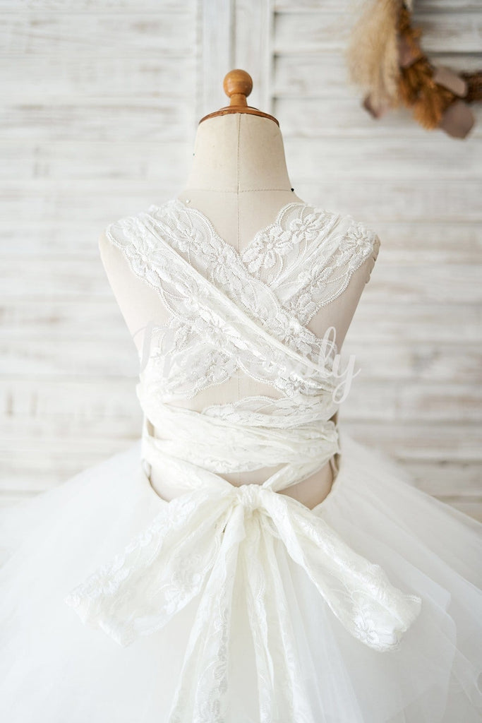Backless Ivory Lace Ruffle Tulle Wedding Flower Girl Dress