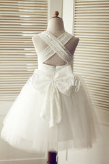 Backless Ivory Lace Tulle Wedding Flower Girl Dress with Big