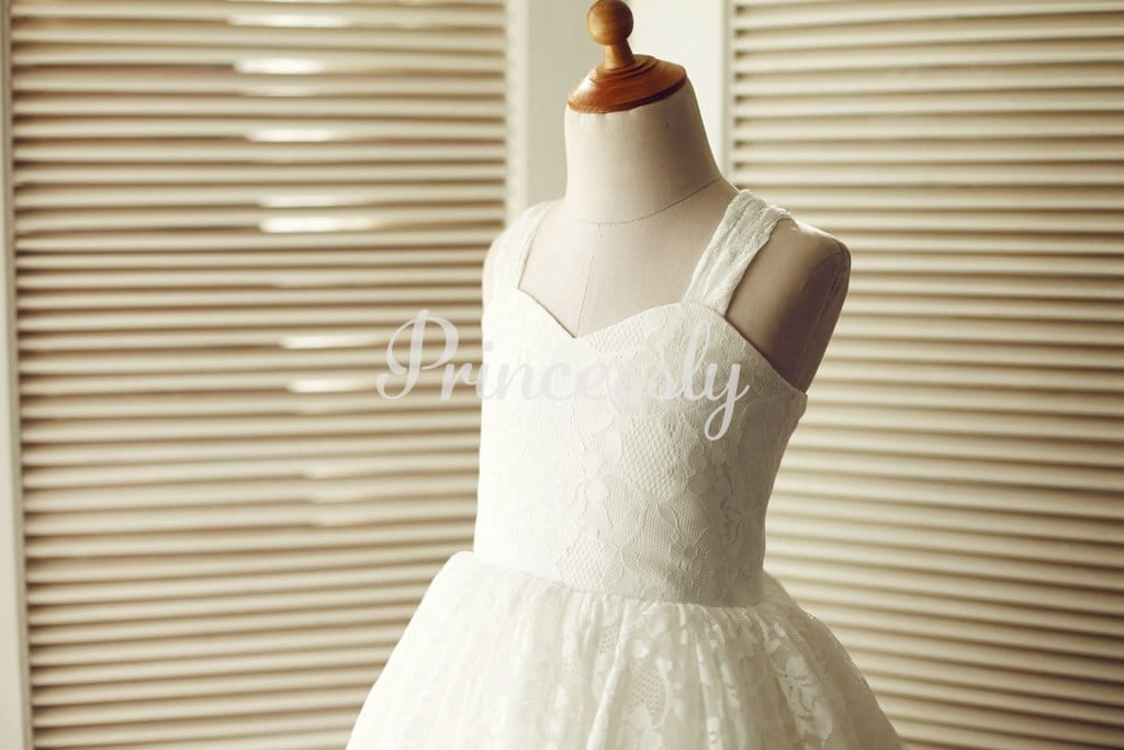 Backless Ivory Lace Wedding Flower Girl Dress