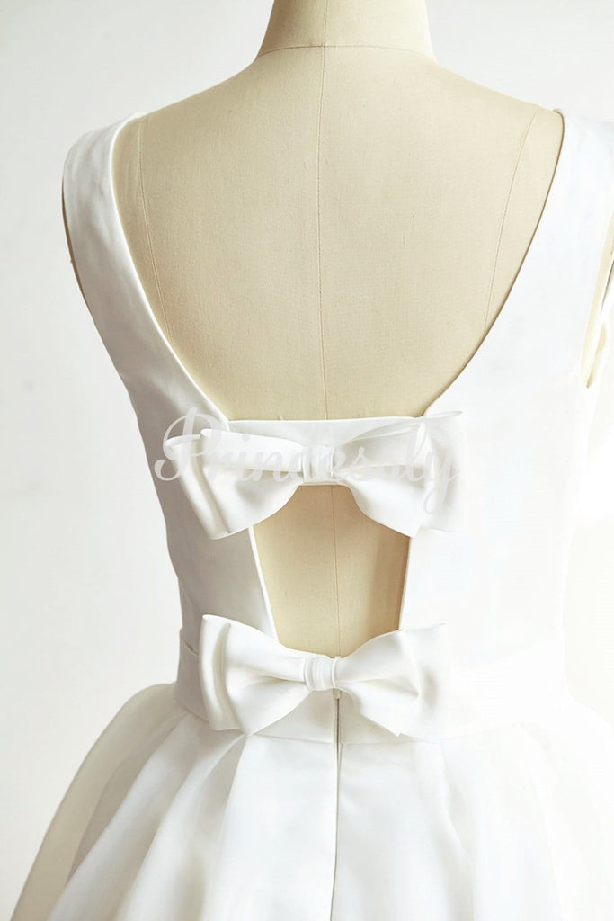 Backless Ivory Satin Organza Short Wedding dress Bridal Gown