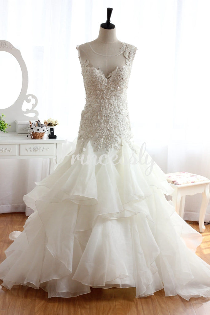 Backless Lace Organza Beaded Ruffle Wedding Dress