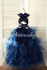 Backless Navy Blue Lace Ruffle Tulle Skirt Flower Girl Dress