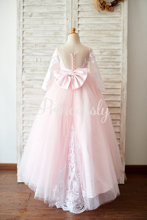 Ball Gown Long Sleeves Pink Lace Tulle Wedding Flower Girl