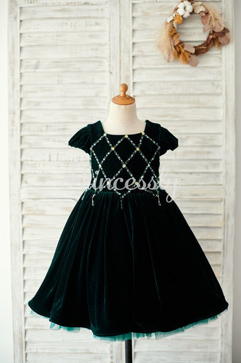 Beaded Green Velvet Corset Back Cap Sleeves Wedding Flower