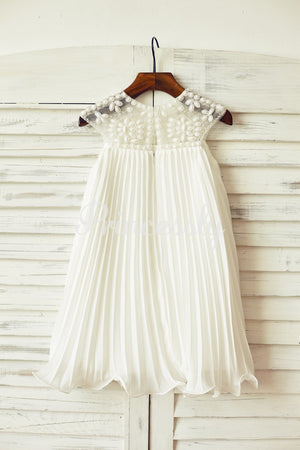 Beaded Ivory Chiffon Flower Girl Dress
