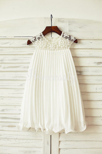 Beaded Ivory Chiffon Flower Girl Dress - 2T / Ivory