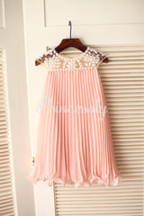 Beaded Ivory Chiffon Flower Girl Dress - 2T / Pink