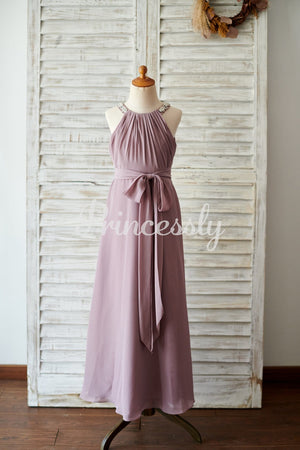 Beaded Mauve Chiffon Wedding Junior Bridesmaid Dress in