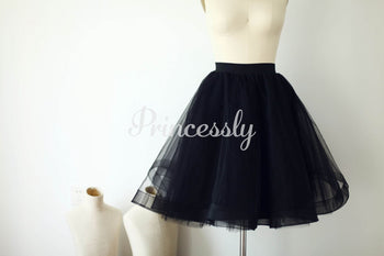 Black Horsehair Tulle Skirt / Short Women Skirt
