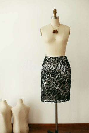 Black Lace Skirt /Short Woman Skirt