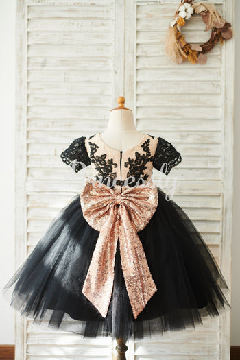 Black Lace Tulle Short Sleeves Wedding Flower Girl Dress