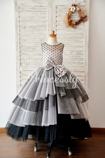 Black Polka Dots Tulle Corset Back Ball Gown Cupcake Wedding