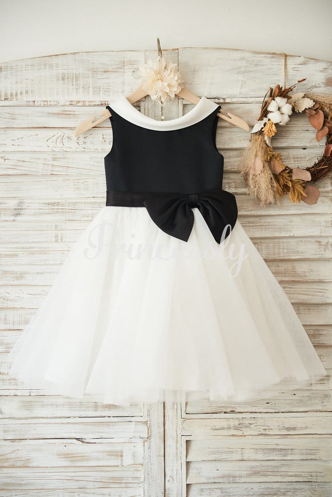 Black Satin Ivory Tulle Wedding Flower Girl Dress with V