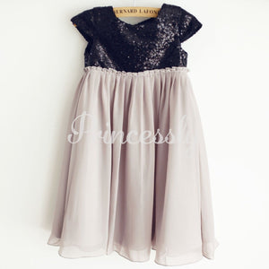 Black Sequin Gray Chiffon Cap Sleeves Wedding Flower Girl