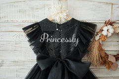 Black Sequin Tulle Ruffle Sleeves Wedding Flower Girl Dress