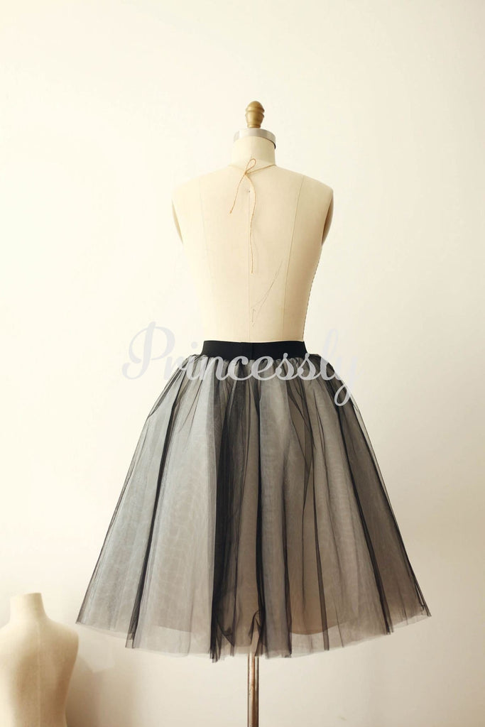 Black Tulle Ivory Lining TUTU Skirt / Short Women Skirt