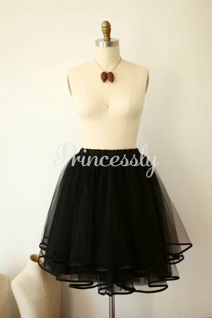 Black Tulle Satin Edge Skirt / Short Woman Skirt