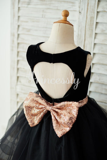 Black Velvet Tulle Keyhole Back Wedding Flower Girl Dress