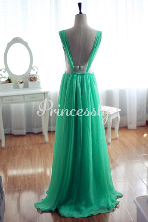 Blue Chiffon Bridesmaid Dress Prom Dress Open Back Party