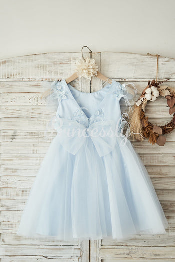 Blue Lace Tulle Cap Sleeves V Back Wedding Flower Girl Dress