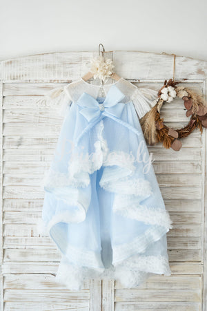 Blue Polka Dot Lace Tulle Cap Sleeves Wedding Flower Girl