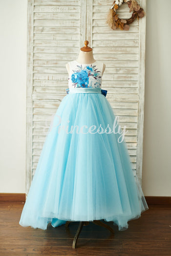 Blue Printed Floral Satin Tulle V Back Wedding Flower Girl