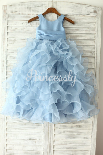 Blue Satin Ruffle Organza Skirt TUTU Princess Flower Girl