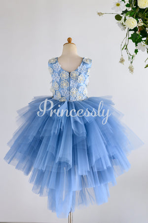 Blue Satin Tulle 3D Flowers Hi-low Wedding Flower Girl Dress
