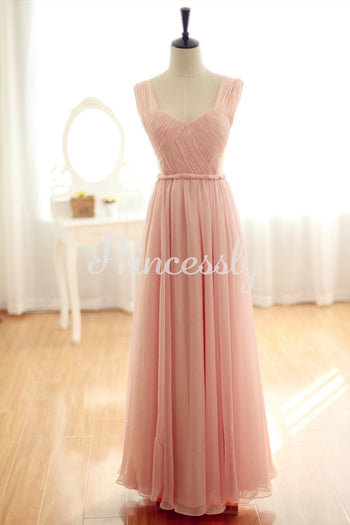 Blush pink Chiffon Bridesmaid Dress Prom Dress Backless