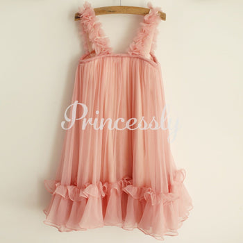 Blush Pink Chiffon Straps Wedding Flower Girl Dress