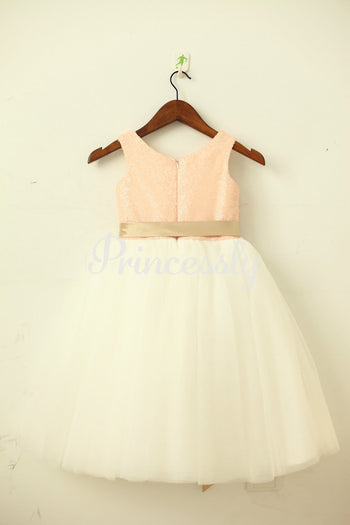 Blush Pink / Gold Sequin Ivory Tulle Flower Girl Dress with