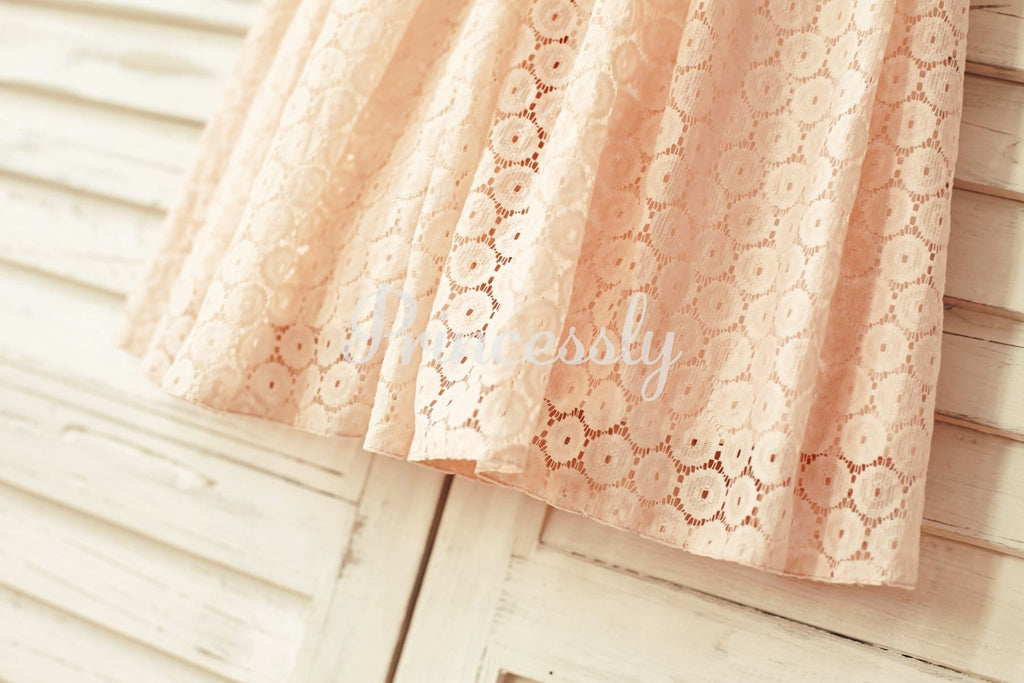 Blush Pink Lace Flower Girl Dress