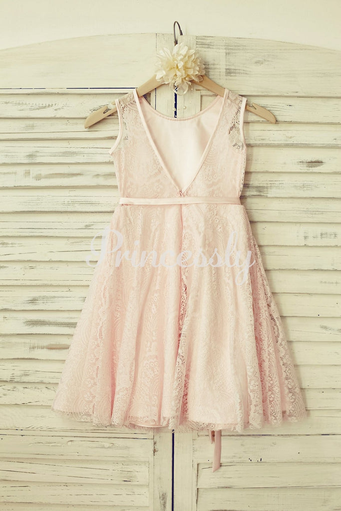 Blush Pink Lace V Back Flower Girl Dress with Thin Sash