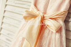 Blush Pink Satin Ivory Lace Cap Sleeves Flower Girl Dress