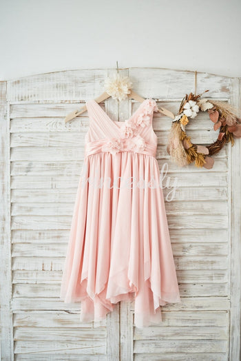 Blush Pink Tulle V Neck Wedding Flower Girl Dress with