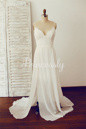 Boho Beach Backless Lace Chiffon Wedding Dress