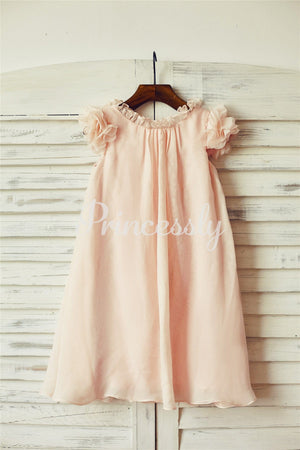 Boho Beach Blush Pink Chiffon Flower Girl Dress with