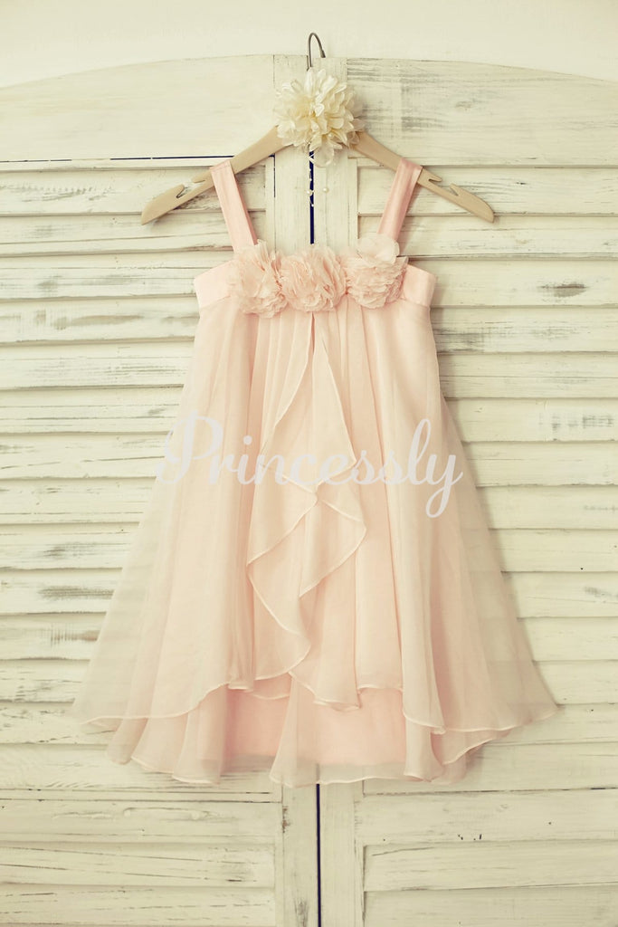 Boho Beach Blush Pink Thin Straps Chiffon Flower Girl Dress
