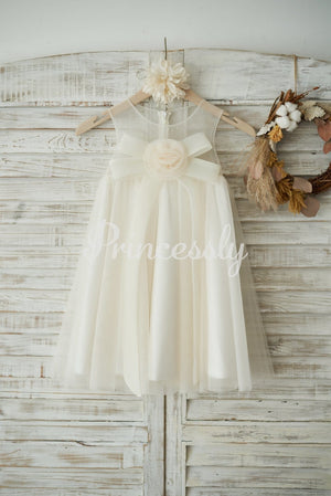 Boho Beach Champagne Tulle Wedding Flower Girl Dress with