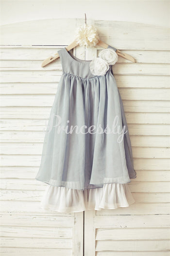 Boho Beach Grey Chiffon Flower Girl Dress with ivory flowers