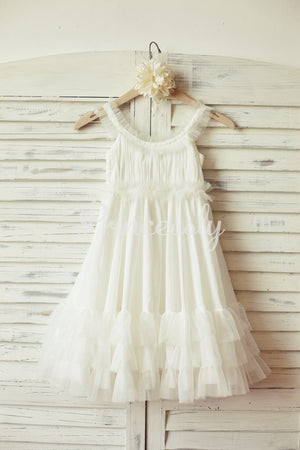 Boho Beach Ivory Chiffon Tulle Flower Girl Dress