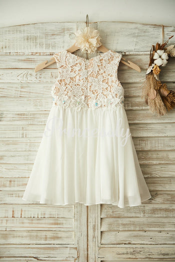 Boho Beach Ivory Lace Chiffon Wedding Flower Girl Dress