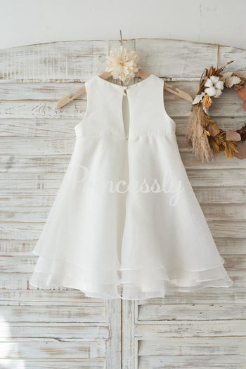 Boho Beach Ivory Satin Organza Wedding Flower Girl Dress