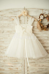 Boho Beach Ivory Tulle Beaded Wedding Flower Girl Dress