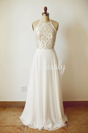 Boho Beach Lace Chiffon Backless Wedding Dress