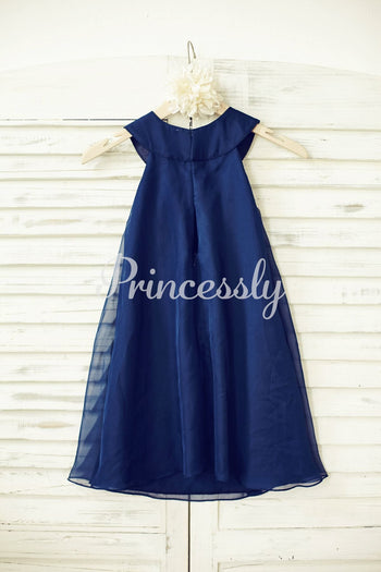 Boho Beach Navy Blue Chiffon Flower Girl Dress with Pearl