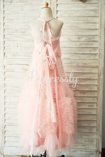 Boho Beach Pink Tulle Lace Wedding Flower Girl Dress