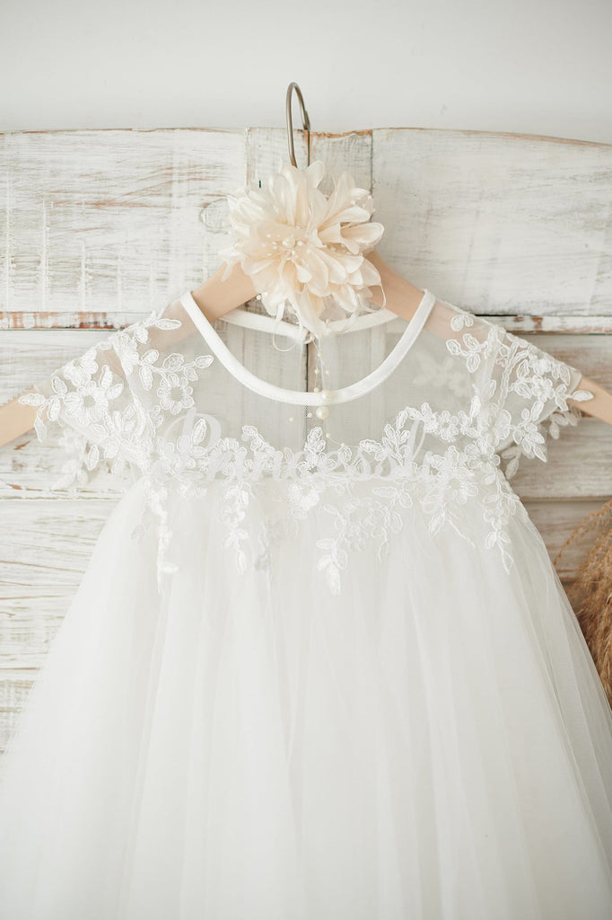 Boho Beach Sheer Neck Ivory Tulle Lace Wedding Flower Girl